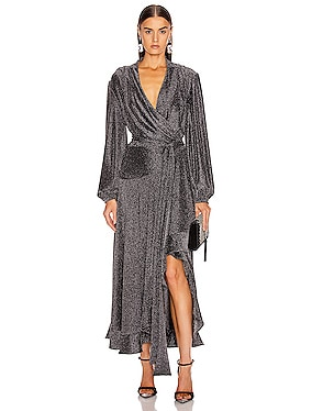 Metallic Mesh Hi Low Wrap Dress