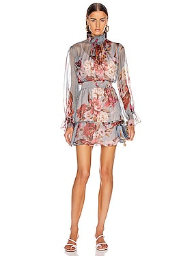 Peony Print Mini Dress