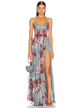 Peony Print Bustier Maxi Dress With Belt