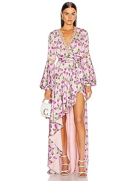 Jute Trim Maxi Wrap Dress