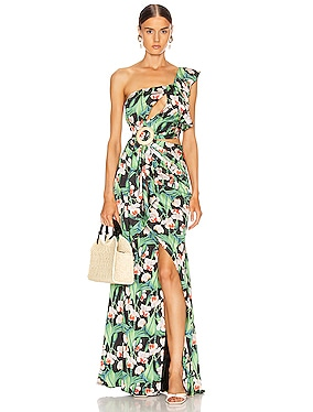Floral Asymmetric Maxi Dress
