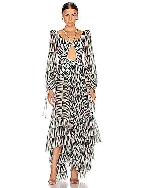 Geo Print Long Sleeve Cutout Dress
