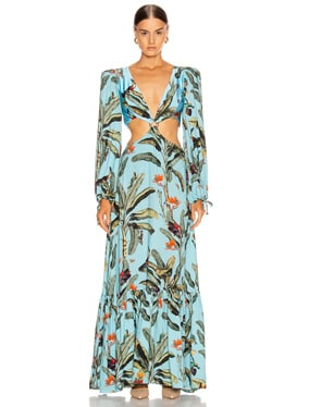 Tropical Print Cutout Maxi Dress