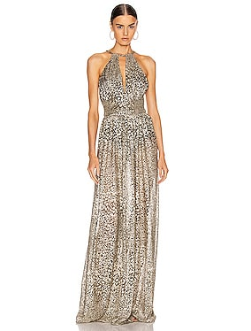 Metallic Leopard Keyhole Maxi Dress