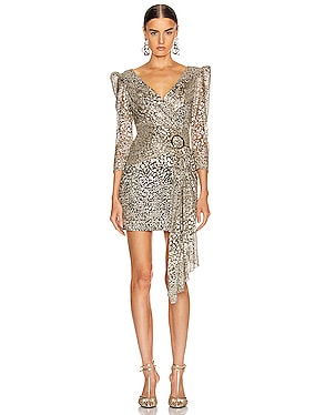 Metallic Leopard Drape Mini Dress