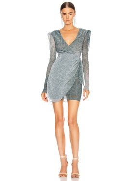 Ombre Lurex Faux Wrap Mini Dress