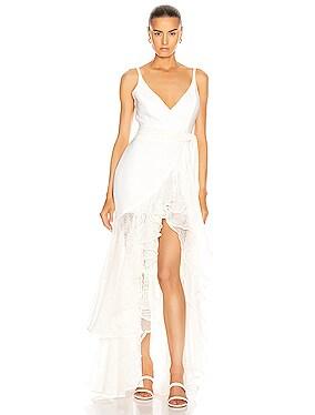 Mesh Trim Linen Maxi Dress