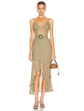 Mesh Linen Bustier Dress