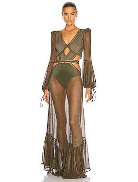 Long Sleeve Netted Beach Dress