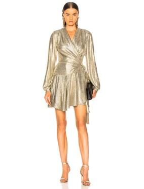 Cara Lame Mini Wrap Dress