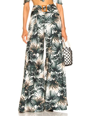 Palm Print Belted Wide Leg Pant