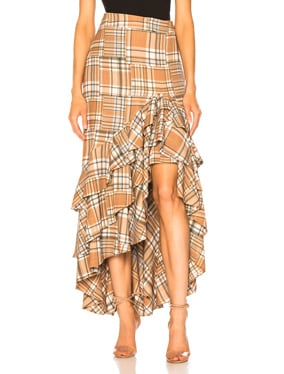 Plaid Ruffle Midi Skirt