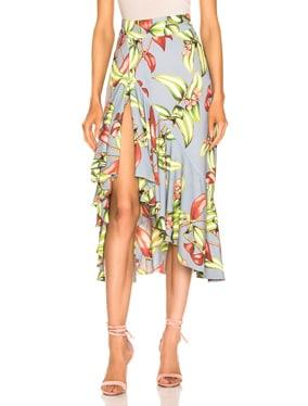 Zebrina Print Ruffle Midi Skirt