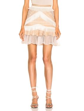Mesh & Fringe Tiered Mini Skirt