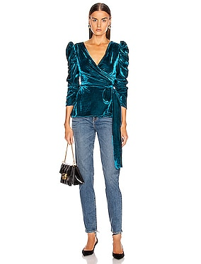 Velvet Puff Sleeve Wrap Top