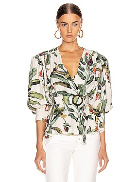 Tropical Print Belted Top