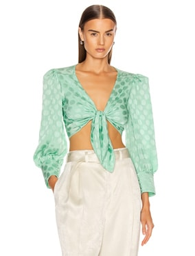 Satin Dot Tie Front Cropped Top