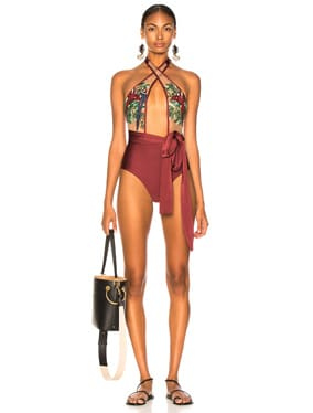 Embroidered Cross Front One Piece
