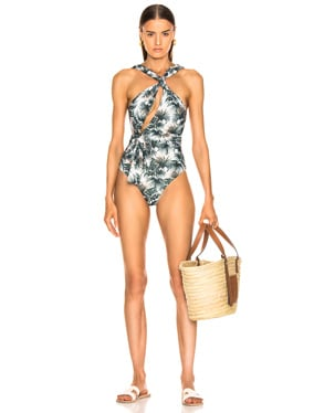 Palm Print Cutout Swimsuit
