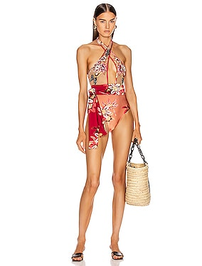 Embroidered Cross Front Swimsuit
