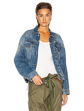 Oversized Cinched Waist Trucker Jacket
