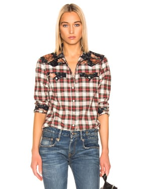 Exaggerated Collar Cowboy Shirt