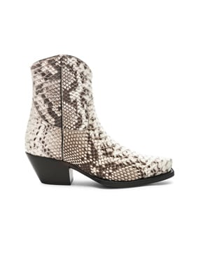 Snakeskin Embossed Cowboy Ankle Boots