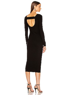 Framed Rib Banded Midi Dress