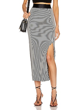 Bound Striped Banded Skirt