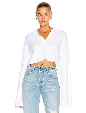 Cropped Long Sleeve Polo Shirt