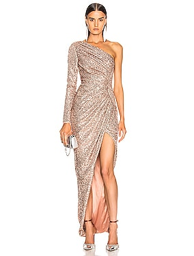 One Shoulder Draped Sequin Gown