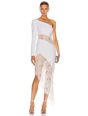 Asymmetric Crepe and Lace Midi Dress