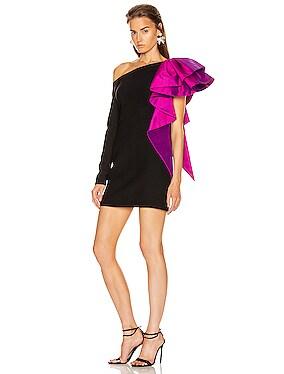 Ruffled One Shoulder Mini Dress