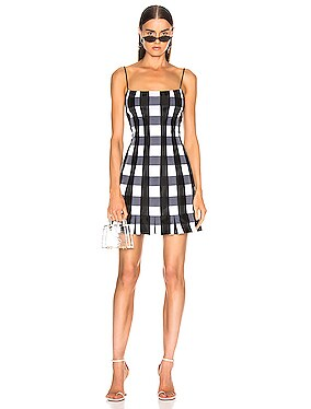 Checked Satin Mini Dress