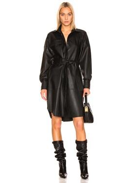 Bologna Leather Long Sleeve Shirt Dress