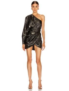 Gold Python One Shoulder Jacquard Dress