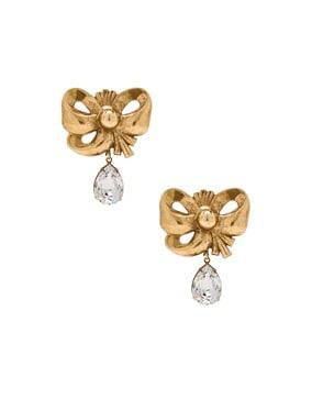 Bow Earrings with Teardrop Swarovski Detail