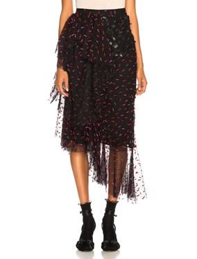 Tulle & Pleather Hip Ruffle Skirt