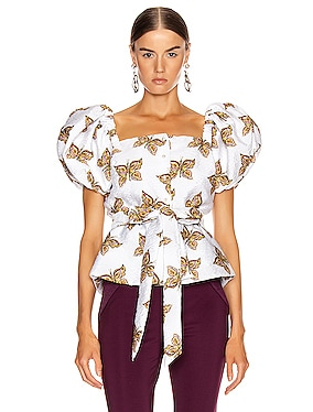 Butterfly Cinch Waist Blouse