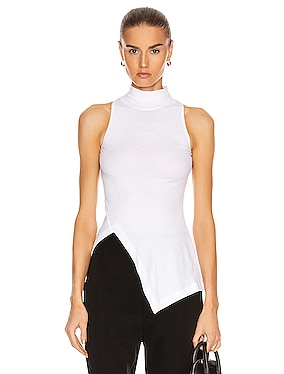 Sleeveless Paneled Turtleneck Top