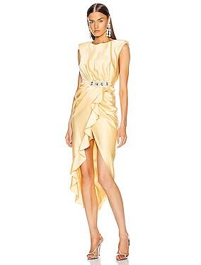 Satin Stone Buckle Midi Dress