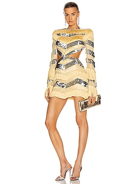 Sequin and Fringe Cut Out Mini Dress