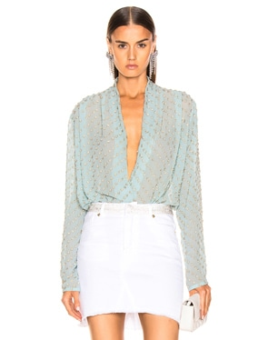 Embellished Wrap Bodysuit