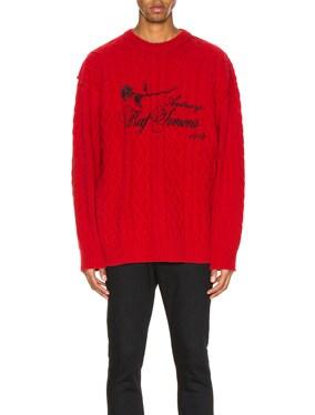 Printed Aran Knit Sweater