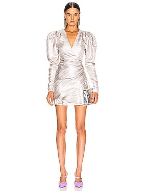 Wrap Effect Metallic Mini Dress