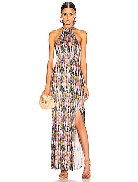 Halter Style High Slit Maxi Dress