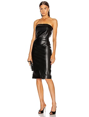 for FWRD Daniella Faux Leather Midi Dress