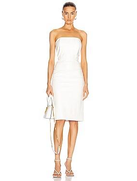 for FWRD Daniella Faux Leather Midi Dress
