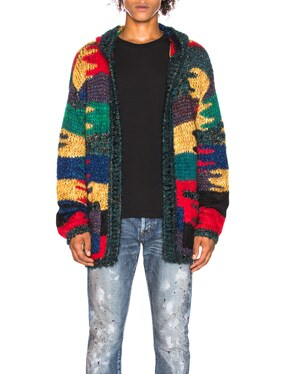 Patchwork Hooded Cardigan