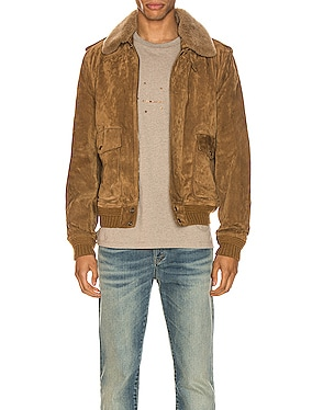 Suede Shearling Flight Jacket